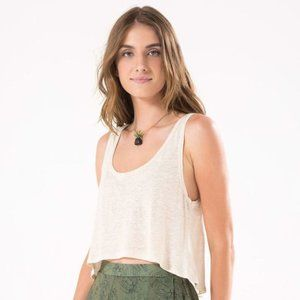 Cropped Off White Linen Tank Top